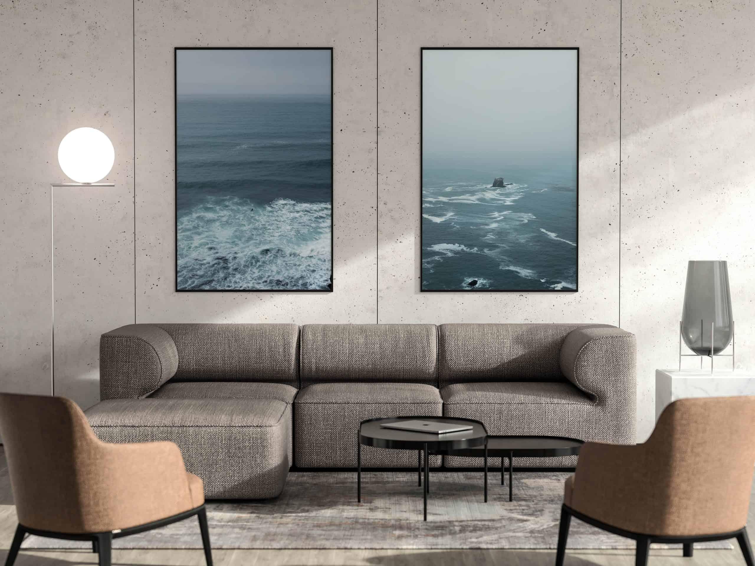 Diptych Ocean unique Wall Art Print living room