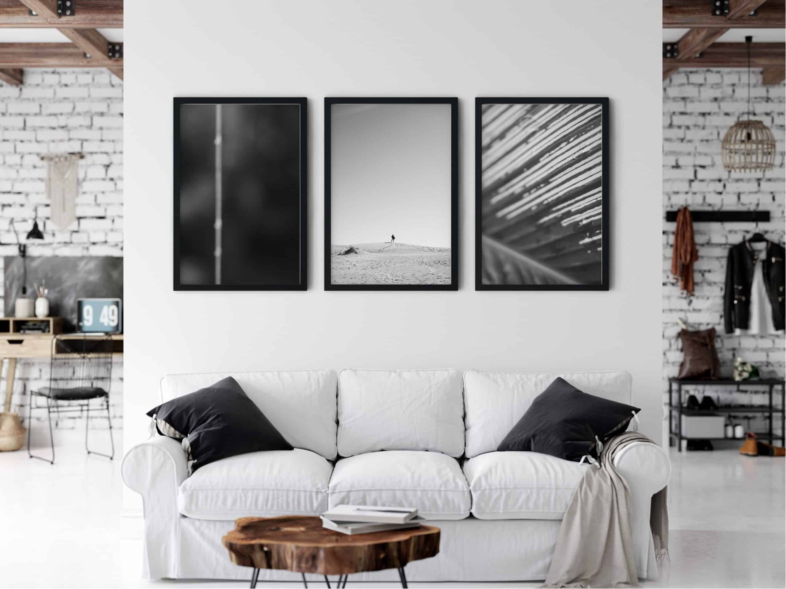 Triptych Outdoor Black and white unique Wall Art Print living room