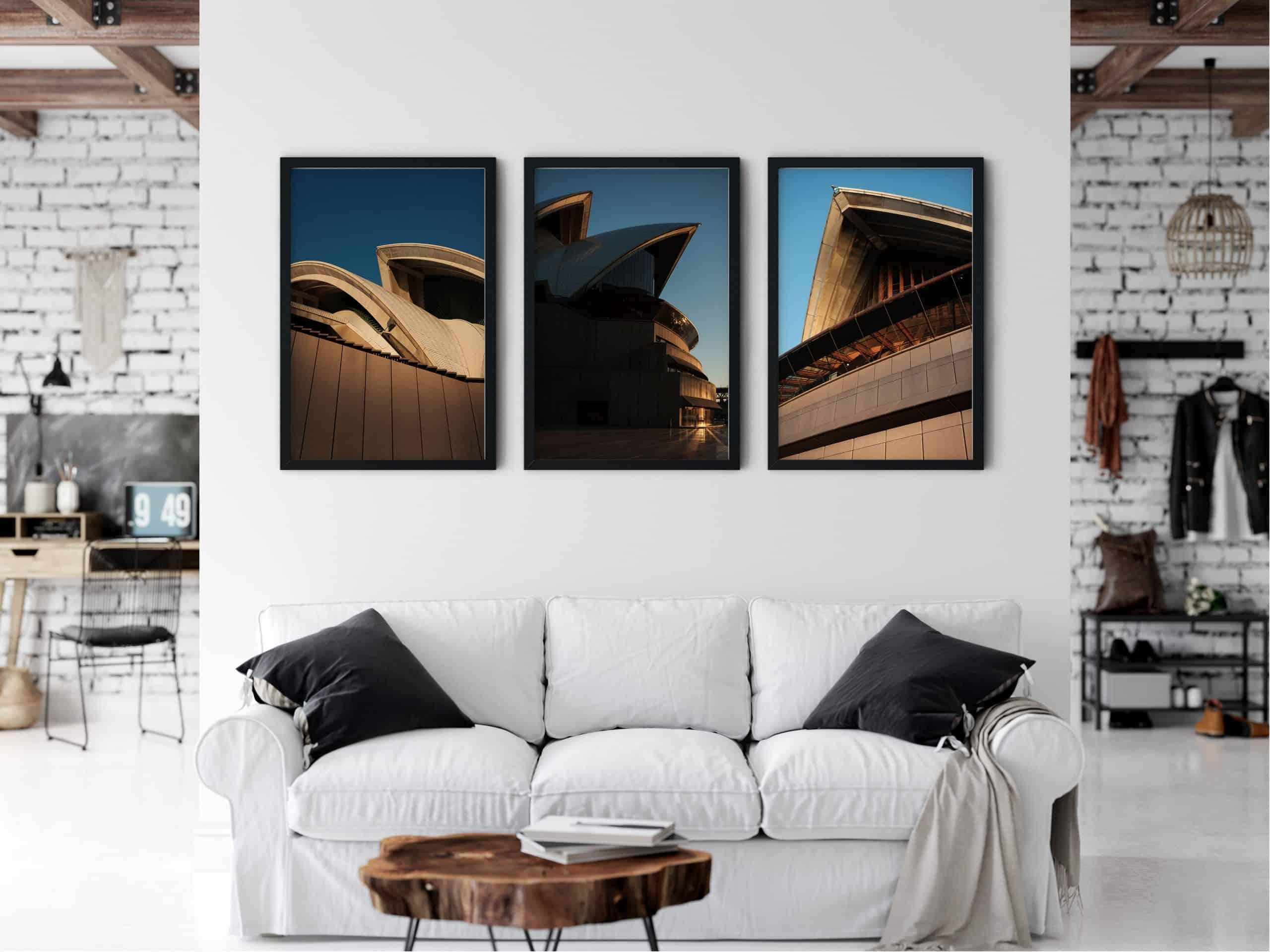 Triptych Urban unique Wall Art Print living room