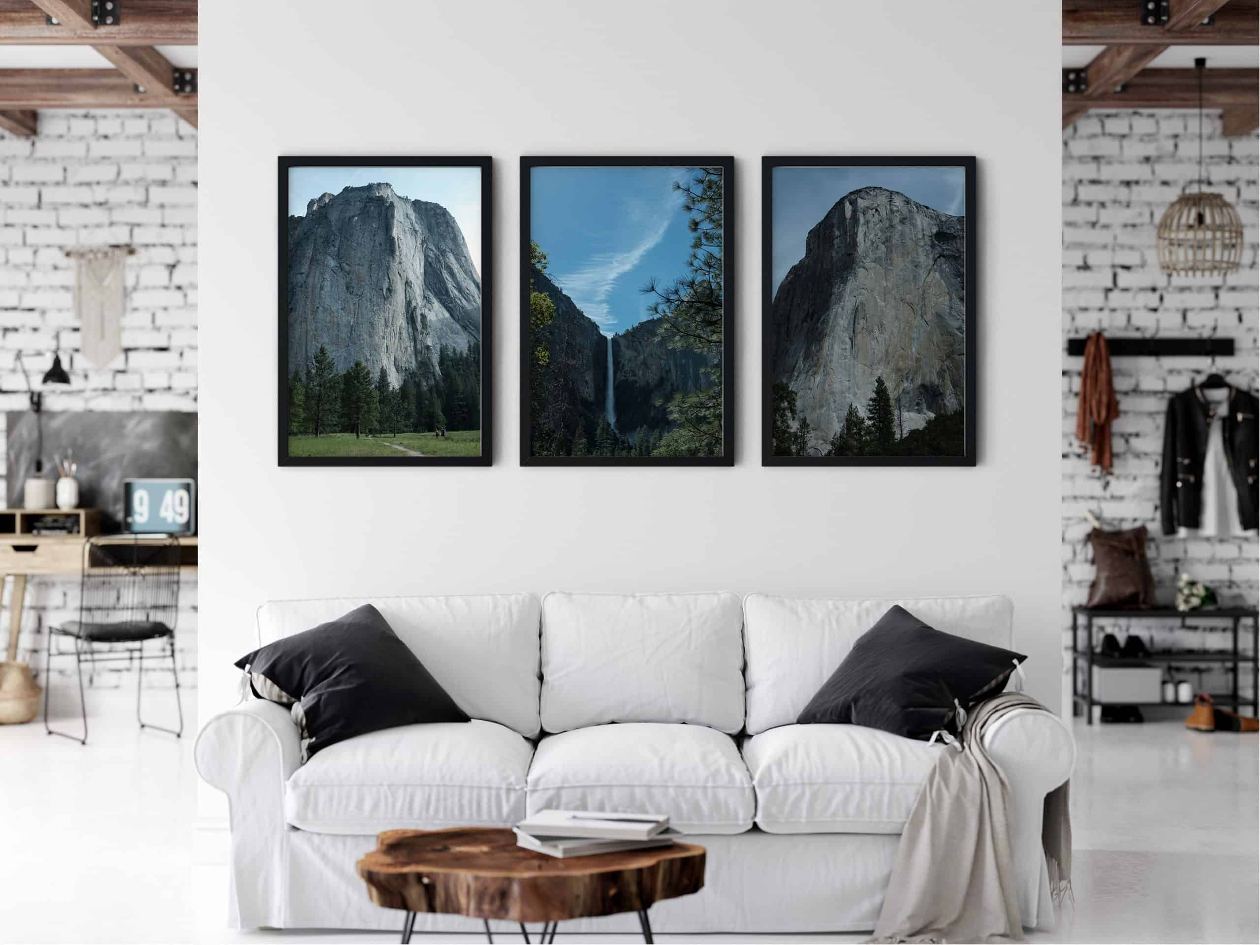 Triptych Outdoor mountain unique Wall Art Print living room