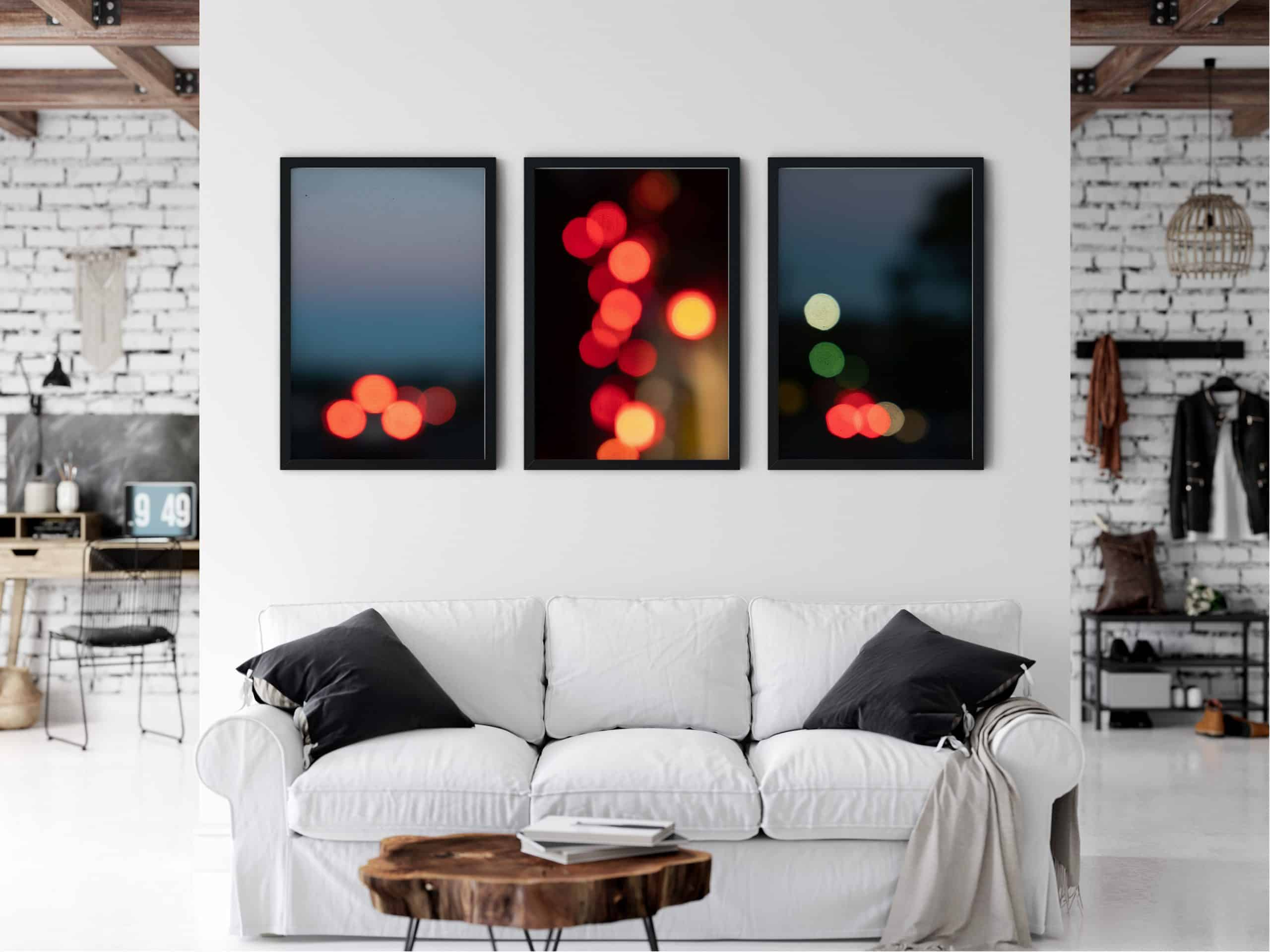 Triptych Abstract unique Wall Art Print living room
