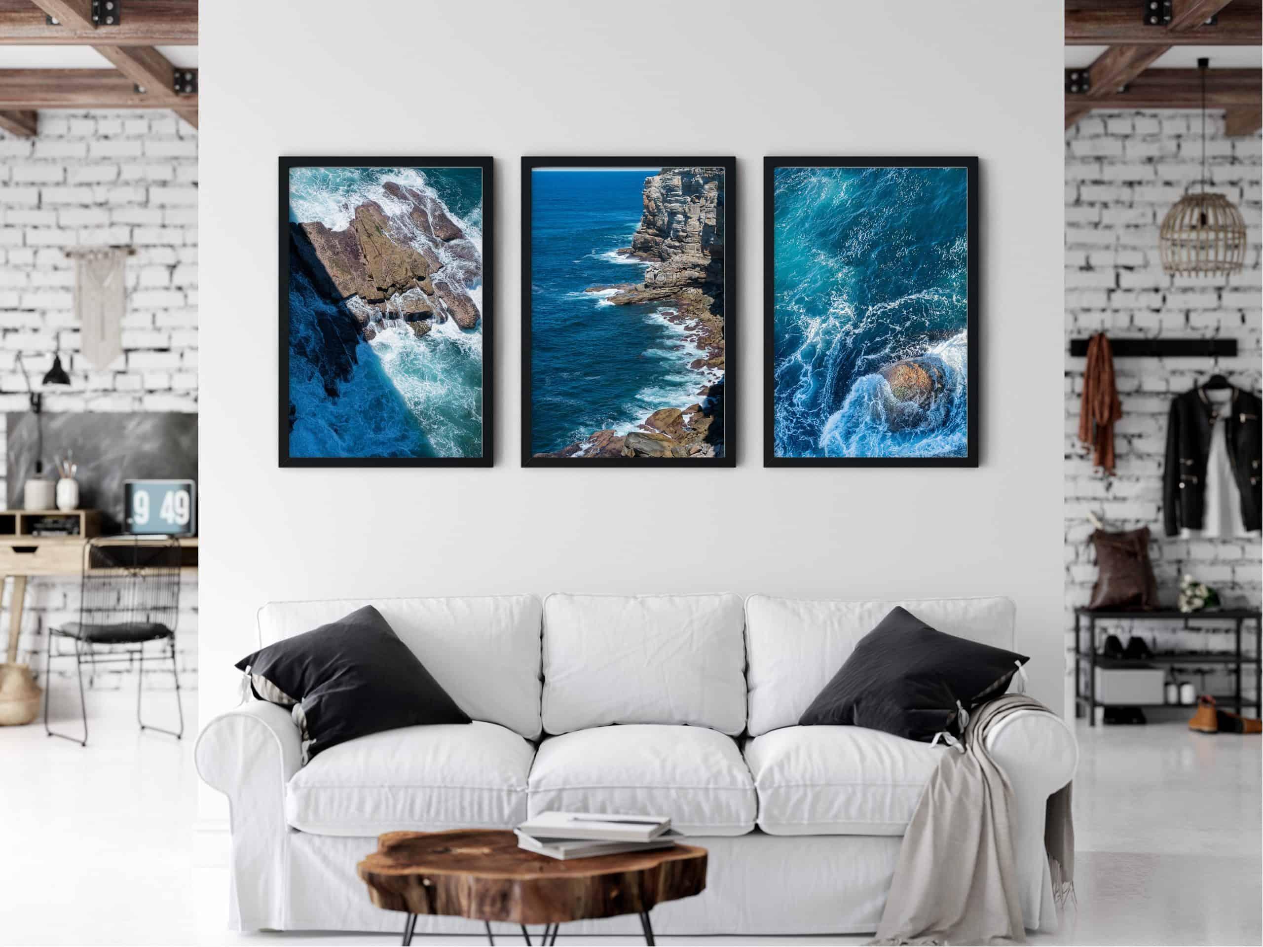 Triptych Ocean unique Wall Art Print living room